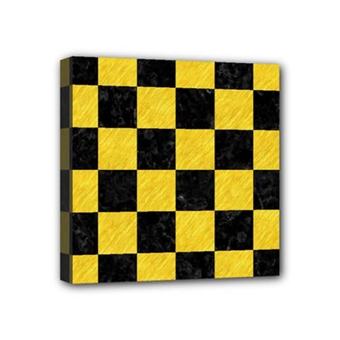 Square1 Black Marble & Yellow Colored Pencil Mini Canvas 4  X 4