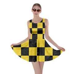Square1 Black Marble & Yellow Colored Pencil Skater Dress