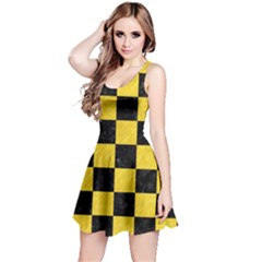 Square1 Black Marble & Yellow Colored Pencil Reversible Sleeveless Dress