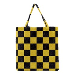 Square1 Black Marble & Yellow Colored Pencil Grocery Tote Bag