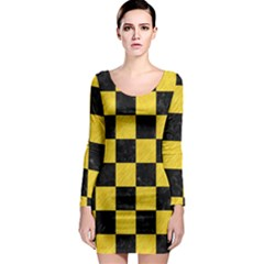 Square1 Black Marble & Yellow Colored Pencil Long Sleeve Bodycon Dress