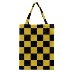 Square1 Black Marble & Yellow Colored Pencil Classic Tote Bag