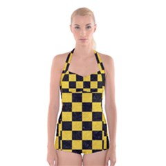 Square1 Black Marble & Yellow Colored Pencil Boyleg Halter Swimsuit