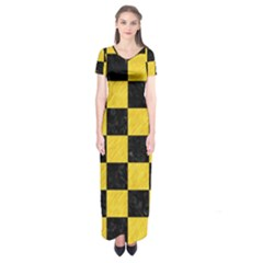 Square1 Black Marble & Yellow Colored Pencil Short Sleeve Maxi Dress