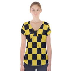 Square1 Black Marble & Yellow Colored Pencil Short Sleeve Front Detail Top
