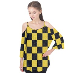 Square1 Black Marble & Yellow Colored Pencil Flutter Tees