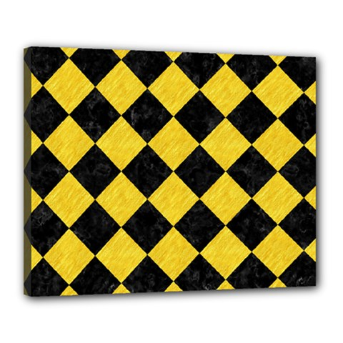 Square2 Black Marble & Yellow Colored Pencil Canvas 20  X 16