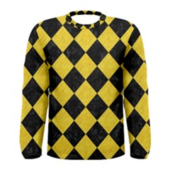 Square2 Black Marble & Yellow Colored Pencil Men s Long Sleeve Tee
