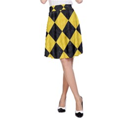 Square2 Black Marble & Yellow Colored Pencil A Line Skirt