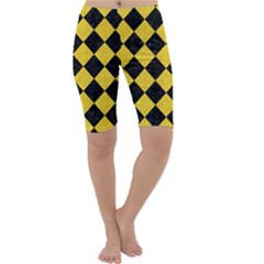 Square2 Black Marble & Yellow Colored Pencil Cropped Leggings