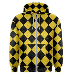 Square2 Black Marble & Yellow Colored Pencil Men s Zipper Hoodie