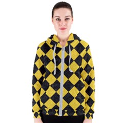 Square2 Black Marble & Yellow Colored Pencil Women s Zipper Hoodie
