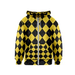 Square2 Black Marble & Yellow Colored Pencil Kids  Zipper Hoodie
