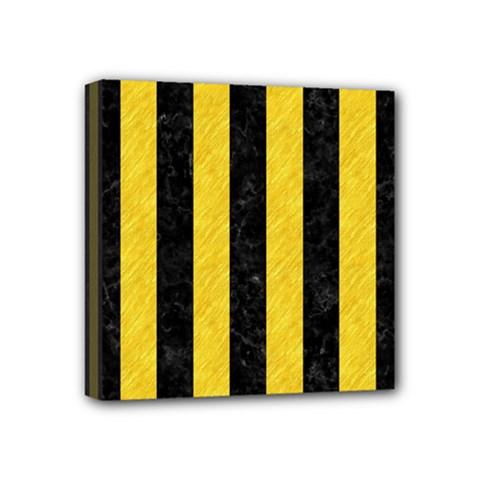Stripes1 Black Marble & Yellow Colored Pencil Mini Canvas 4  X 4