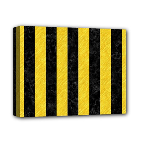 Stripes1 Black Marble & Yellow Colored Pencil Deluxe Canvas 14  X 11