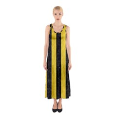 Stripes1 Black Marble & Yellow Colored Pencil Sleeveless Maxi Dress