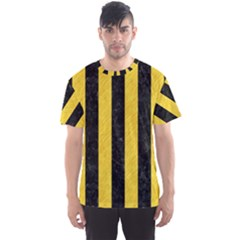 Stripes1 Black Marble & Yellow Colored Pencil Men s Sports Mesh Tee