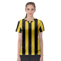 Stripes1 Black Marble & Yellow Colored Pencil Women s Sport Mesh Tee