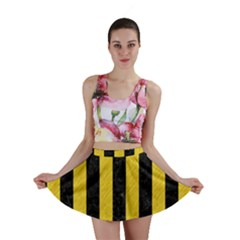 Stripes1 Black Marble & Yellow Colored Pencil Mini Skirt