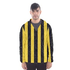 Stripes1 Black Marble & Yellow Colored Pencil Hooded Wind Breaker (men)