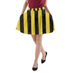 Stripes1 Black Marble & Yellow Colored Pencil A Line Pocket Skirt