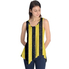 Stripes1 Black Marble & Yellow Colored Pencil Sleeveless Tunic