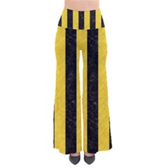 Stripes1 Black Marble & Yellow Colored Pencil Pants