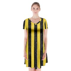 Stripes1 Black Marble & Yellow Colored Pencil Short Sleeve V Neck Flare Dress