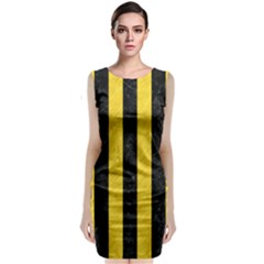 Stripes1 Black Marble & Yellow Colored Pencil Classic Sleeveless Midi Dress