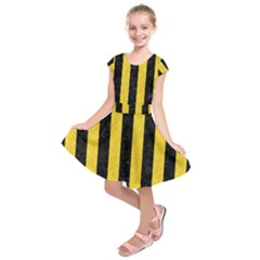 Stripes1 Black Marble & Yellow Colored Pencil Kids  Short Sleeve Dress