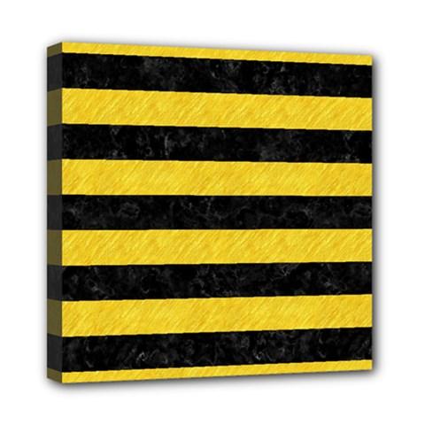 Stripes2 Black Marble & Yellow Colored Pencil Mini Canvas 8  X 8