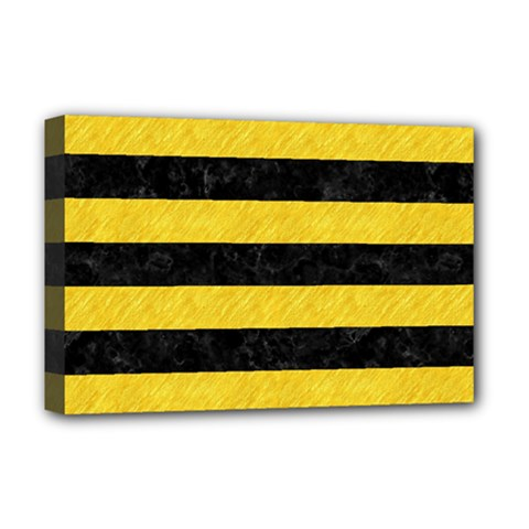 Stripes2 Black Marble & Yellow Colored Pencil Deluxe Canvas 18  X 12