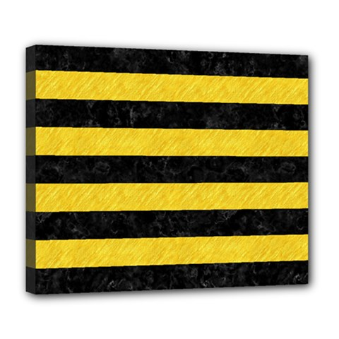 Stripes2 Black Marble & Yellow Colored Pencil Deluxe Canvas 24  X 20