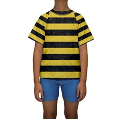 Stripes2 Black Marble & Yellow Colored Pencil Kids  Short Sleeve Swimwear