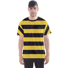 Stripes2 Black Marble & Yellow Colored Pencil Men s Sports Mesh Tee