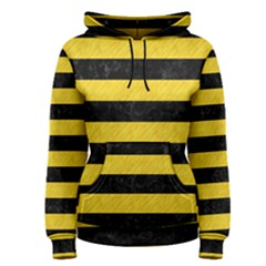 Stripes2 Black Marble & Yellow Colored Pencil Women s Pullover Hoodie