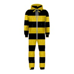 Stripes2 Black Marble & Yellow Colored Pencil Hooded Jumpsuit (kids)