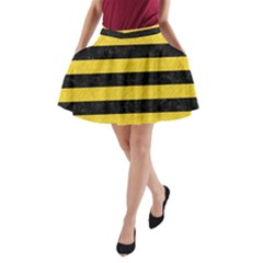 Stripes2 Black Marble & Yellow Colored Pencil A Line Pocket Skirt