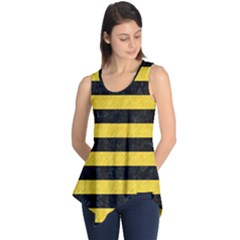 Stripes2 Black Marble & Yellow Colored Pencil Sleeveless Tunic