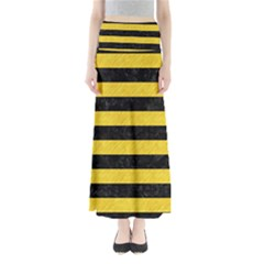 Stripes2 Black Marble & Yellow Colored Pencil Full Length Maxi Skirt