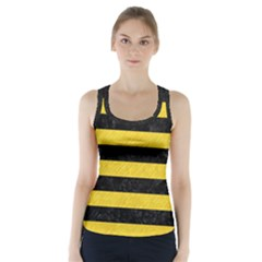 Stripes2 Black Marble & Yellow Colored Pencil Racer Back Sports Top