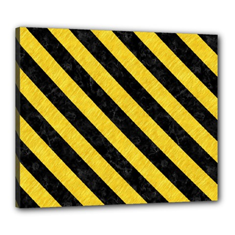 Stripes3 Black Marble & Yellow Colored Pencil Canvas 24  X 20