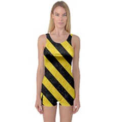 Stripes3 Black Marble & Yellow Colored Pencil One Piece Boyleg Swimsuit