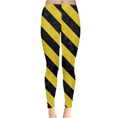 Stripes3 Black Marble & Yellow Colored Pencil Leggings