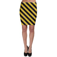 Stripes3 Black Marble & Yellow Colored Pencil Bodycon Skirt