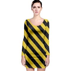 Stripes3 Black Marble & Yellow Colored Pencil Long Sleeve Bodycon Dress