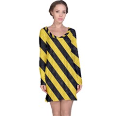 Stripes3 Black Marble & Yellow Colored Pencil Long Sleeve Nightdress