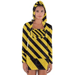 Stripes3 Black Marble & Yellow Colored Pencil Long Sleeve Hooded T Shirt