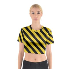 Stripes3 Black Marble & Yellow Colored Pencil Cotton Crop Top