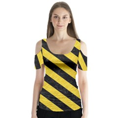 Stripes3 Black Marble & Yellow Colored Pencil Butterfly Sleeve Cutout Tee